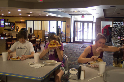 Christopher, Sydney and Allie having pizza at the bowling alley (Image taken by Patrick R. Kane on 18 Aug 2012 with Olympus XZ-1)