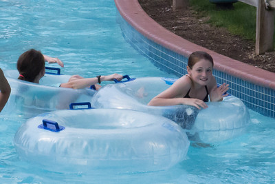 Sydney in the lazy river at Great Waves Waterpark (28 Aug 2012)