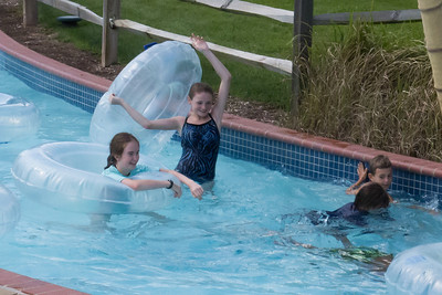 Addie, Sydney and Christopher in the lazy river at Great Waves Waterpark (28 Aug 2012)