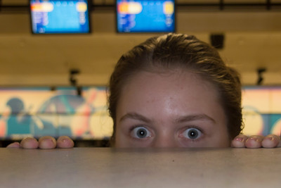 Allie goofing around at the bowling alley (Image taken by Sydney J. Kane on 18 Aug 2012 with Olympus XZ-1)