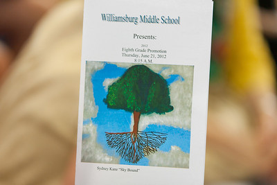 The Program for the 8th Grade Promotion at Williamsburg Middle School, featuring Sydney's artwork, 'Sky Bound' (Image taken by Patrick R. Kane on 21 Jun 2012 with Canon EOS 5D at ISO 400, f2.8, 1/160 sec and 125mm)