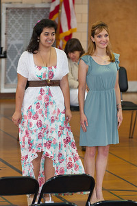 Sydney's friend, Carolyn, with a teacher. 8th Grade Promotion at Williamsburg Middle School (Image taken by Patrick R. Kane on 21 Jun 2012 with Canon EOS 5D at ISO 400, f2.8, 1/125 sec and 150mm)