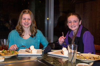 Allie and Sydney celebrating their 15th birthday at Matsutake hibachi grill (6 Jan 2013)