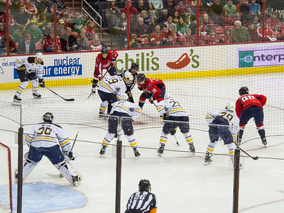We knew we were in for an exciting game when a faceoff in the Caps' offensive zone resulted in an Ovechkin goal 19 seconds into the game. The Washington Capitals defeated the Buffalo Sabres 5-3 in a NHL game on St. Patrick's Day 2013 (Image taken by Patrick R. Kane on 17 Mar 2013 with Canon PowerShot G12 at ISO 0, f4.5, 1/160 sec and 30.5mm)