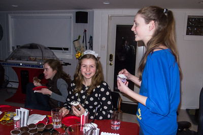 Addie, Allie and Sydney decorating cupcakes during Sydney's 15th Birthday Party (11 Jan 2013)