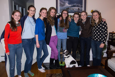 Sydney's 15th Birthday Party. Dolly decided to sit right in front of us and join in the picture. No one even called her, she did this entirely by herself to get in. (11 Jan 2013)