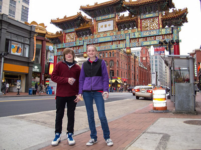 Christopher and Sydney in front of Chinatown's Friendship Archway just before the Washington Capitals defeated the Buffalo Sabres 5-3 in a NHL game on St. Patrick's Day 2013 (Image taken by Patrick R. Kane on 17 Mar 2013 with Canon PowerShot G12 at ISO 0, f2.8, 1/60 sec and 6.1mm)