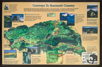 """""""Gateways to Beartooth Country"""" sign outside the northeast entrance to Yellowstone National Park, Montana"""