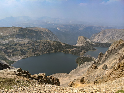 View of Twin Lakes from Beartooth Highway (US 212) near Beartooth Pass, Montana