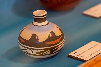 Clay vase made by Carlin, Cedar Mesa, Utah. Crazy Horse Memorial, Crazy Horse, South Dakota
