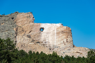 Note the painted outline for the horse's head on the Crazy Horse Memorial, Crazy Horse, South Dakota