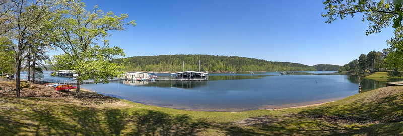 I stayed overnight at the mostly empty Lake Ouachita State Park, Mountain Pine, Arkansas