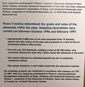 I visited Crater of Diamonds State Park in the afternoon to see the exhibits and had planned to return the next day to try my hand at mining; however, it was cold and raining so I headed an hour east to soak in the hot tubs instead.