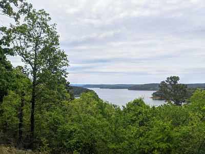 The view of Lake Greeson, Arkansas, from the roadside pullout where I stayed overnight in the Subaru Outback.