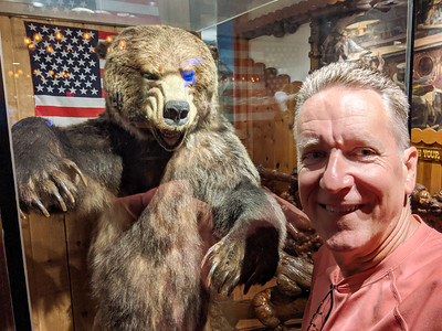 Patrick Kane in the Million Dollar Cowboy Bar in Jackson, Wyoming. This bear was supposedly killed by hunting guide C. Dale Petersen with nothing but his hands and teeth.