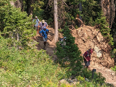 A group from the Xscapers RV group on a 6.3-mile hike on the Darby Canyon Wind Cave Trail, Alta, Wyoming