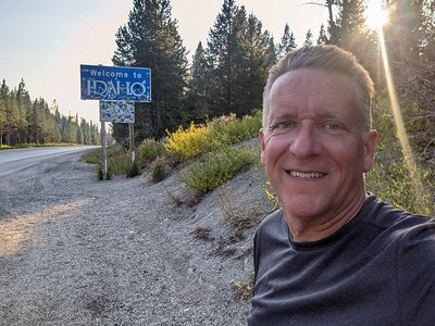 Patrick Kane at the Montana and Idaho state line on Targhee Pass Highway (Hwy 20) between West Yellowstone, Montana, and Island Park, Idaho.