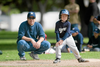 #08 Christopher Kane at 3rd base with Coach Ernie. Brewers vs. Red Sox, 2007 North Side Little League Baseball, Tee Ball Division