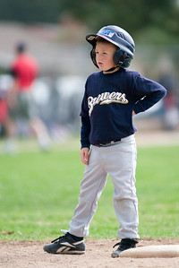 #08 Christopher Kane at 2nd base after hitting a double. Brewers vs. Red Sox, 2007 North Side Little League Baseball, Tee Ball Division