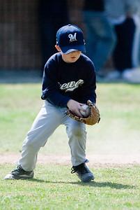 Christopher fielding an infield grounder. Brewers vs. Cardinals, 2007 North Side Little League Baseball, Tee Ball Division