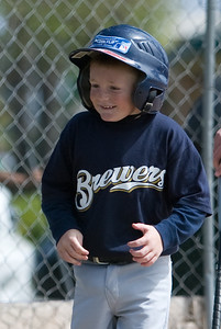 Christopher is pretty happy after he hit a home run. Brewers vs. Cardinals, 2007 North Side Little League Baseball, Tee Ball Division