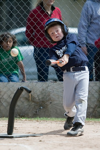 Christopher at bat. Brewers vs. Cardinals, 2007 North Side Little League Baseball, Tee Ball Division