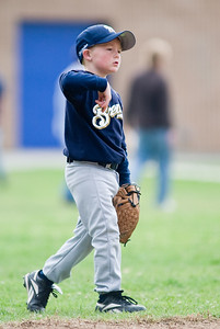 #08 Christopher Kane at short stop ready to play some ball. Brewers vs. Red Sox, 2007 North Side Little League Baseball, Tee Ball Division
