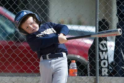Christopher hitting a home run. Brewers vs. Cardinals, 2007 North Side Little League Baseball, Tee Ball Division
