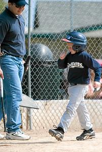 Christopher after hitting a home run. Brewers vs. Cardinals, 2007 North Side Little League Baseball, Tee Ball Division