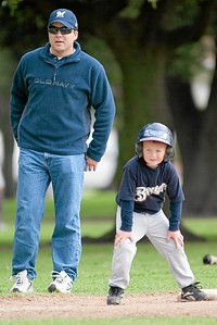 #08 Christopher Kane with Coach Ernie at 3rd base. Brewers vs. Red Sox, 2007 North Side Little League Baseball, Tee Ball Division