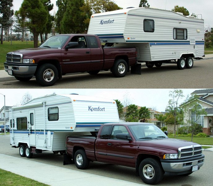 We tow the 2001 Komfort 23F fifth wheel trailer behind a 2002 Dodge Ram 2500 with a Cummins diesel engine. We've been able to put it to use frequently, which is made easier by keeping it at home, stocked and ready to roll whenever we get the urge.<br /> <br /> Upgrades to the trailer include:<br /> <br />     * Xantrex Link 1000 Battery Inverter Monitor (29 May 03)<br />     * Xantrex Freedom 20 Inverter (3 Aug 03)<br />     * Four Trojan T-105 batteries<br />     * Olympian 3100 catalytic heater (12 Aug 03)<br />     * Undercarriage storage rack for our Porta-Bote (Mar 04)<br />     * Storage platform (May 04)