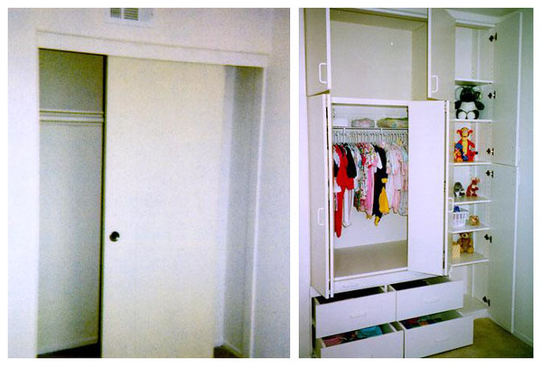 """Baby Room Closet (Jul-Aug 1997). I ripped out the typical sliding wardrobe doors and rebuilt the closet with drawers, shelves, a large cabinet and room for hanging clothes. Now the space can be used more efficiently.   <A HREF=""""http://kanefamily.smugmug.com/gallery/3844414"""">Photo Album</A>"""