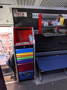 Snap-On toolbox on passenger side with jump seat in front