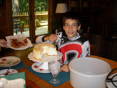 Patrick's favorite meal; Angel food cake, bacon and ice water. August 2010.