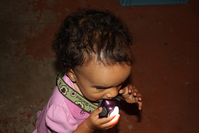 Chewing on a flashlight.