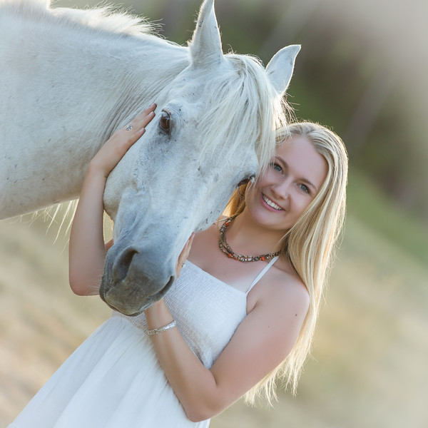 Close up shot of skyla with her horse