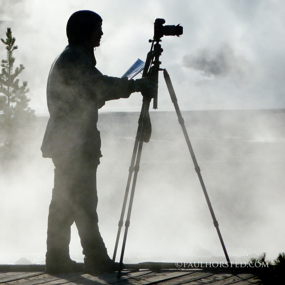 Paul at work, photo by daughter Anna, Norris Geyser Basin, Yellowstone National Park.