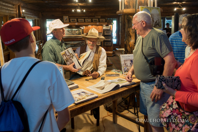 "Paul Horsted and ""Yellowstone Yesterday & Today"" co-author Bob Berry at book signing in lobby of Old Faithful Inn, Yellowstone National Park."
