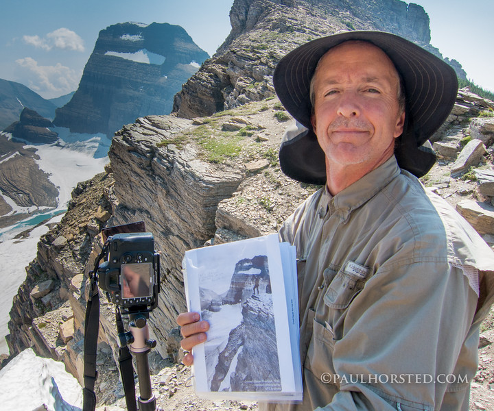 Paul on ridge above Grinnell Glacier, Glacier National Park.