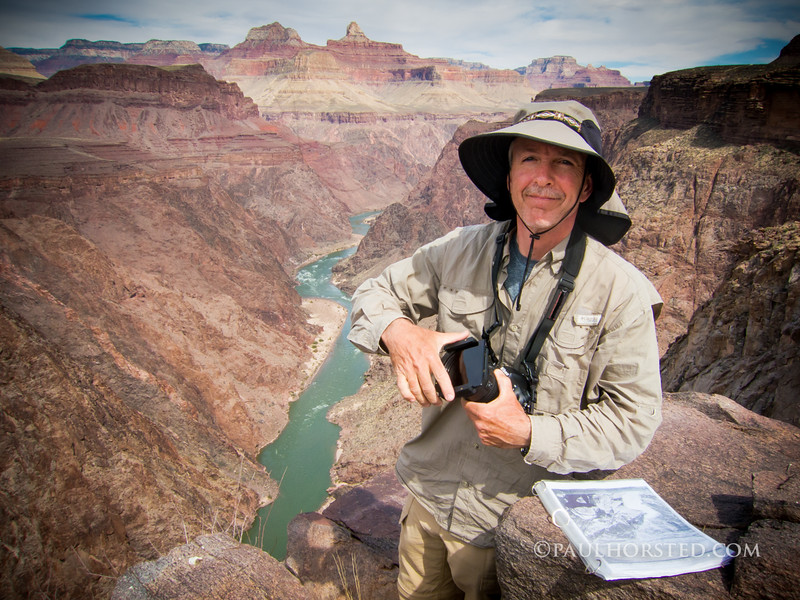 Paul working at historic photo site, inner gorge of Grand Canyon National Park.