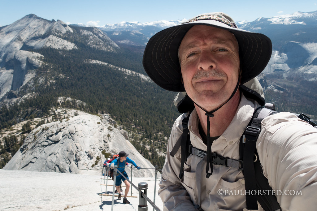 Paul during ascent of Half Dome cables, Yosemite National Park.