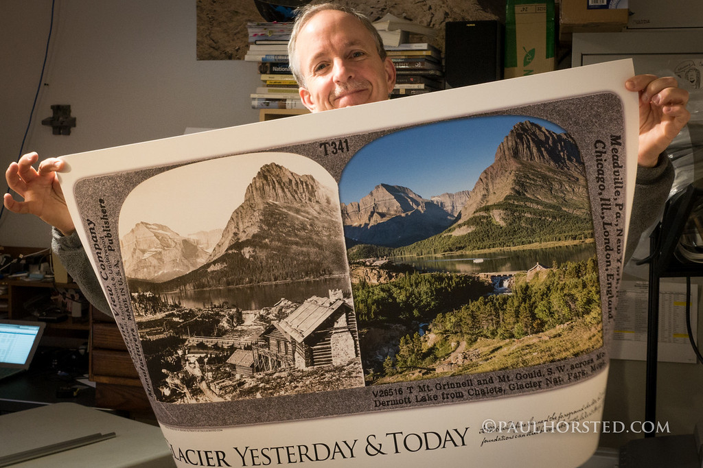"Paul with art print from ""Our National Parks Yesterday & Today"" project."