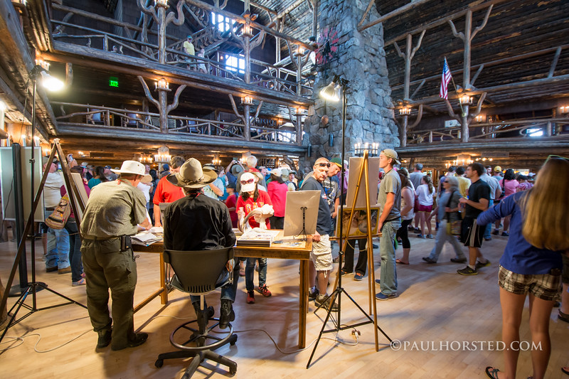 "Paul Horsted (at left) and ""Yellowstone Yesterday & Today"" co-author Bob Berry at book signing in lobby of Old Faithful Inn, Yellowstone National Park."