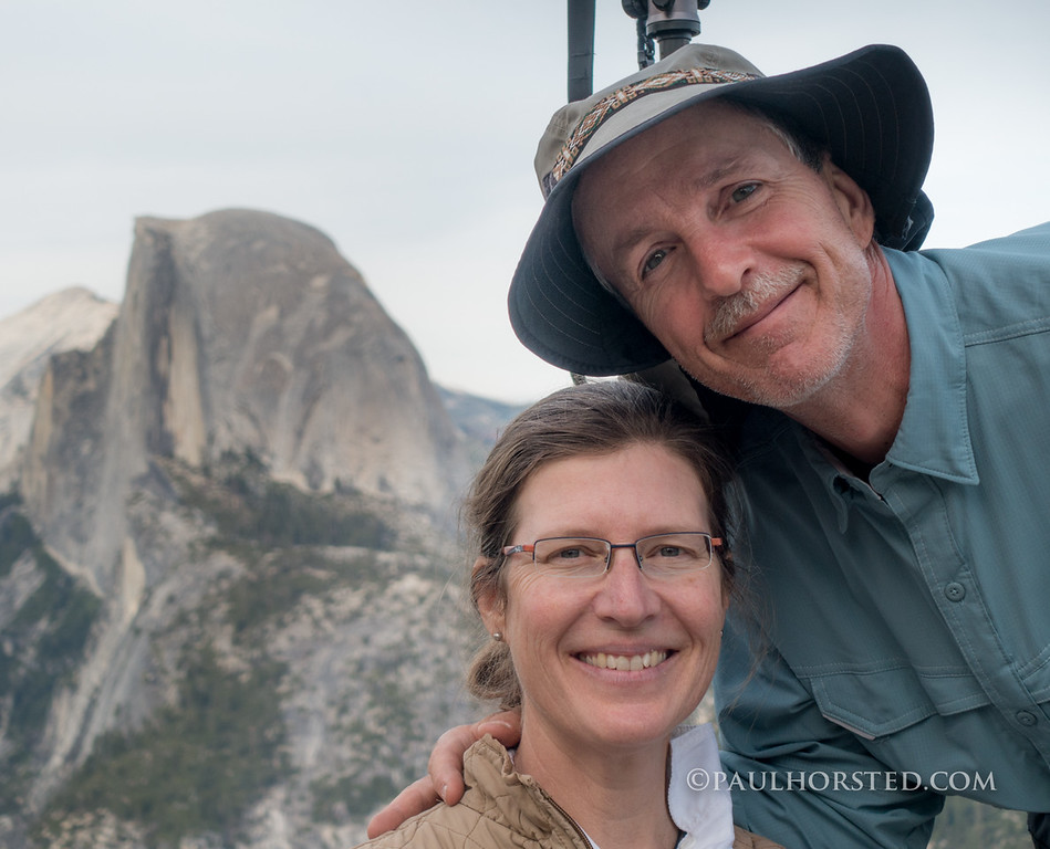Camille Riner and Paul Horsted in Yosemite National Park. Half Dome in distance.