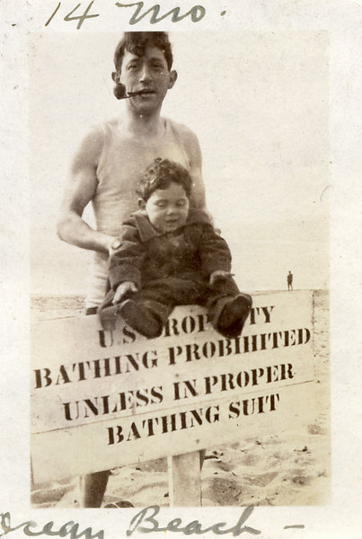 Toby & 14 month old Fred at Ocean Beach, San Francisco, CA<br /> 5/23/1923