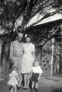 1944ish Geary family at chicken coop