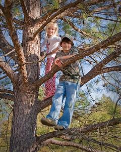 Rai and Trace, tree climbing cousins.