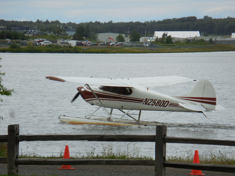 Taking off from Lake Hood / Spenard, world's busiest seaplane facility