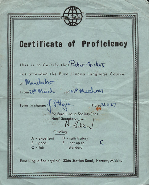 Peter Fisher Certificate of Proficiency in French 19670331