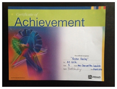 Certificate of Achievement Grade 5